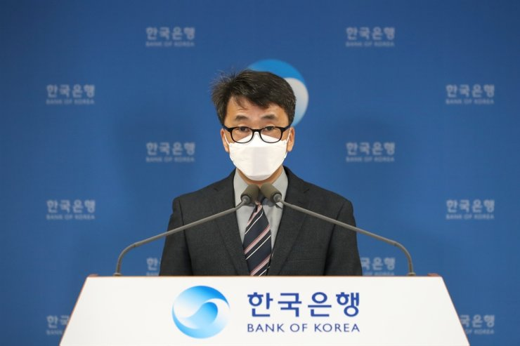 Shin Seung-cheol, director of the national accounts division at the Bank of Korea's, speaks during a press conference at the central bank's headquarters in Seoul, Thursday. Courtesy of Bank of Korea