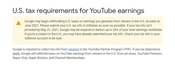 Seen above is an updated YouTube tax policy posted on its help center. Screen capture from Google