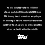 A statement released by Topps / Courtesy of Topps