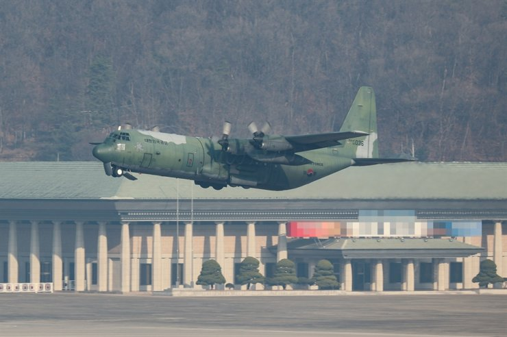 Republic of Korea Air Force's C-130 carrier carrying a bulk of COVID-19 vaccines takes off Seoul Airport in Seongnam to depart for Jeju Island on Mar. 5. Yonhap