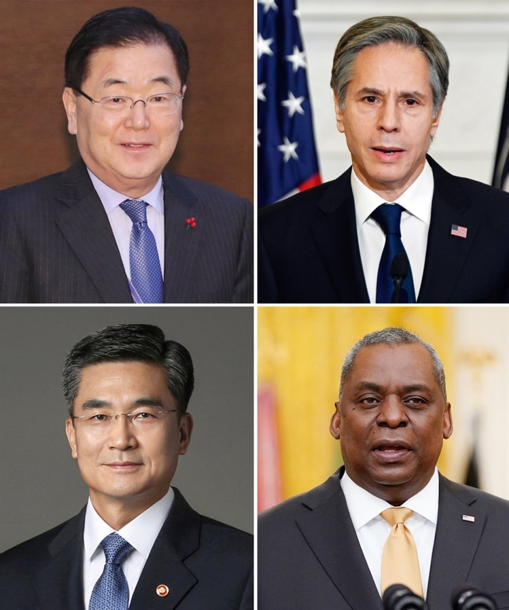 Clockwise from top left are Foreign Minister Chung Eui-yong, U.S. Secretary of State Antony Blinken, U.S. Secretary of Defense Lloyd Austin and Defense Minister Suh Wook / Korea Times file
