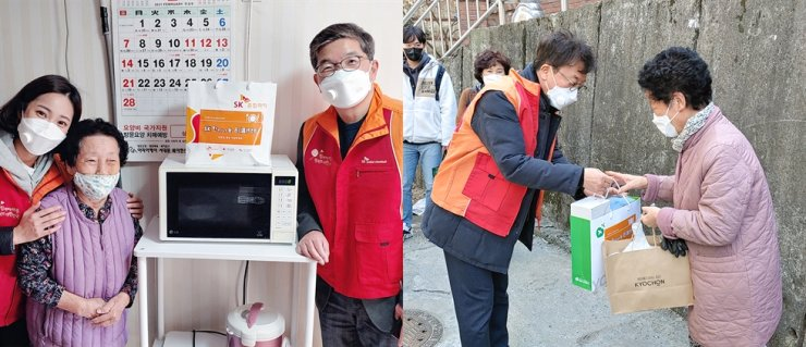 Left: SK Global Chemical CEO Na Kyung-soo poses on the right with an elderly citizen and a company employee after visiting her home in western Seoul, Friday. Right: SK Lubricants CEO Cha Gyu-tak, left, hands over masks and other supplies to an elderly woman in central Seoul, Friday. Courtesy of SK Innovation