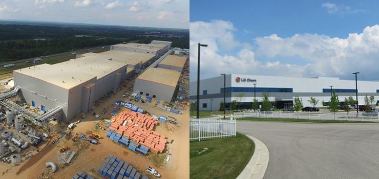 This pictured image shows SKI's battery plant under construction in the U.S. state of Georgia, left, and LGES's battery plant in the U.S. state of Michigan. Courtesy of each company
