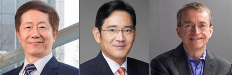 From left, TSMC Chairman Mark Liu, Samsung Electronics Vice Chairman Lee Jae-yong and Intel CEO Pat Gelsinger / Courtesy of the companies