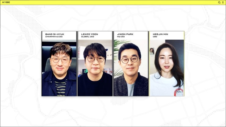 From left are Big Hit Entertainment Chairman and CEO Bang Si-hyuk, global CEO Lenzo Yoon, HQ & Management CEO Park Ji-won and Chief Brand Officer Min Hee-jin, during an online presentation released on YouTube, Friday / Courtesy of Big Hit Entertainment
