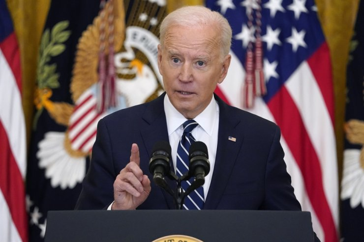 President Joe Biden speaks during a press conference in the East Room of the White House in Washington, D.C., Thursday. AP-Yonhap