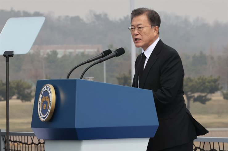 President Moon Jae-in speaks at the event marking the sixth anniversary of the Yellow Sea Defense Day at Pyongtaek, Gyeonggi Province, Friday. Yonhap