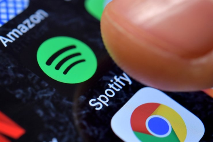 A close-up image showing the Spotify Music app on an iPhone in Kaarst, Germany, Nov. 08, 2017 (reissued 01 March 2021). EPA-Yonhap