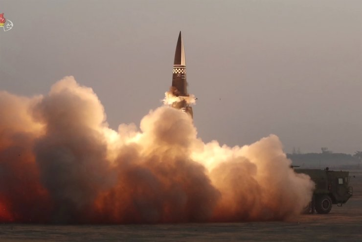 A new type of a tactical guided missile was launched from the North Korean town of Hamju, South Hamgyong Province, Thursday, in this photo released by the North's Korean Central News Agency. Yonhap