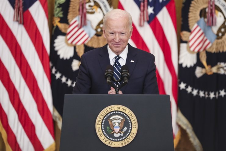 U.S. President Joe Biden speaks during the first formal press conference of his presidency in the East Room of the White House in Washington, in Washington, DC, March 25. EPA