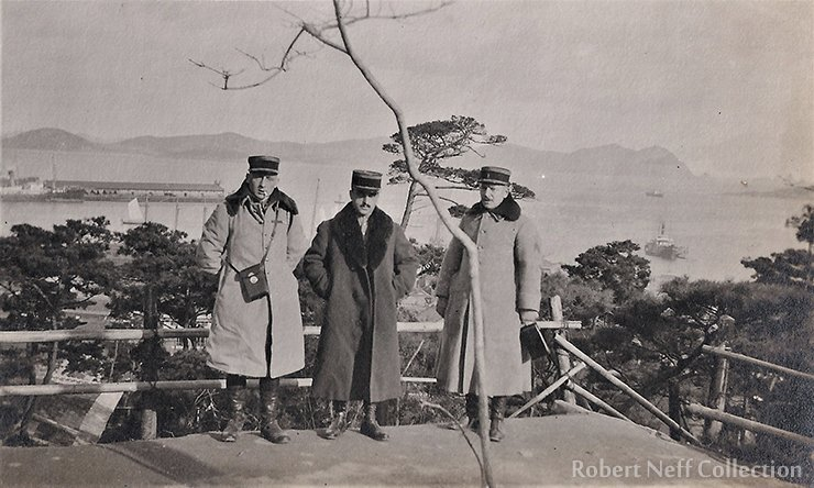 The view of Fusan harbor from the park on the hillside in December 1918.  Robert Neff Collection