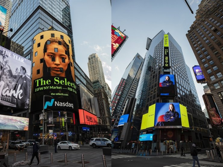 The picture shows advertisements of KOCCA's digital showroom, 'The Selects,' in Time Square. Courtesy of KOCCA
