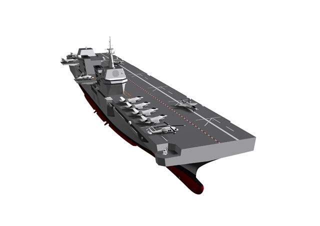 This graphic provided by the Republic of Korea Navy shows an envisioned aircraft carrier battle group featuring an indigenous light aircraft carrier. The South Korean military has recently proposed developing the country's own light aircraft carrier. Courtesy of Republic of Korea Navy
