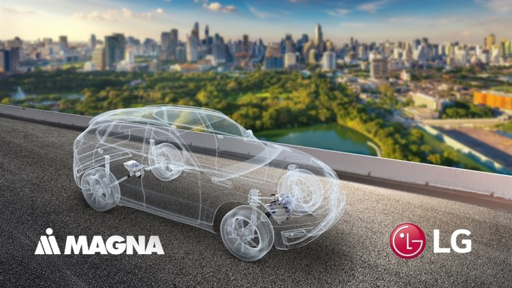 This illustration shows the LG and Magna joint venture with logos of each company, Wednesday. Courtesy of LG Electronics