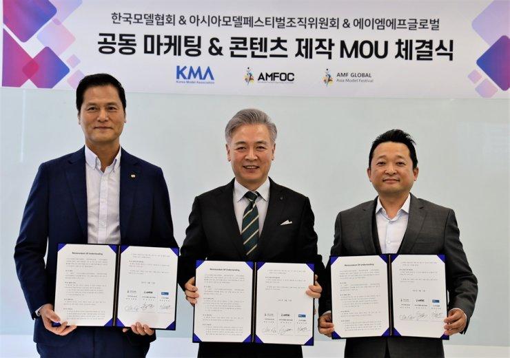 The Asia Model Festival Organizing Committee (AMFOC), Korea Model Association and AMF Global recently signed a memorandum of understanding (MOU). Courtesy of AMFOC