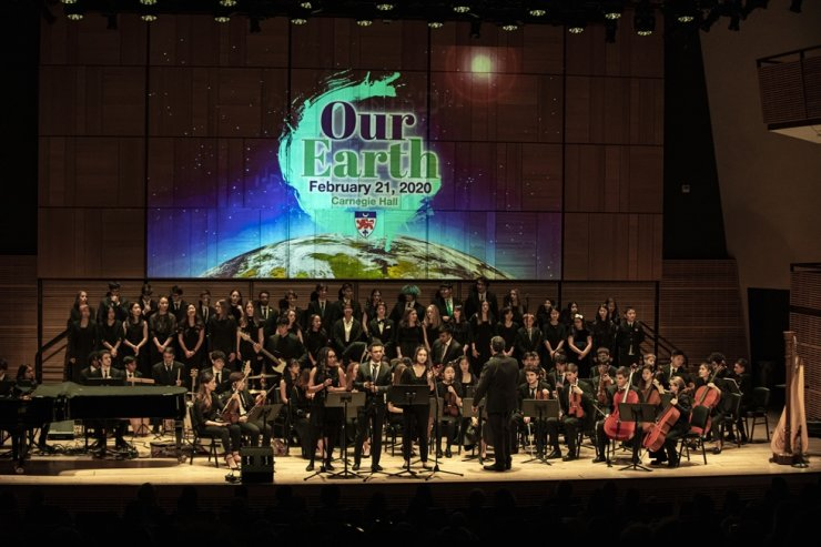 Students from six campuses of Dwight School perform a music concert at Carnegie Hall in New York in this Feb. 21, 2020 photo. Courtesy of Dwight School Seoul