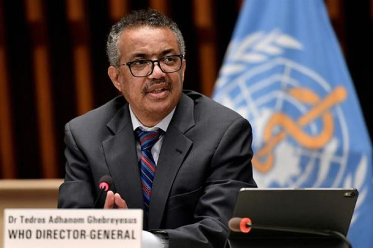 World Health Organization Director-General Tedros Adhanom Ghebreyesus attends a news conference in Geneva, Switzerland, July 3, 2020. He said Monday that the virus situation in India is 'beyond heartbreaking.' Reuters-Yonhap