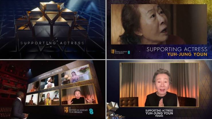 Youn Yuh-jung won Best Supporting Actress at the British Academy of Film and Television Arts (BAFTA) Awards, held at Royal Albert Hall in London, Sunday (local time). Courtesy of BAFTA
