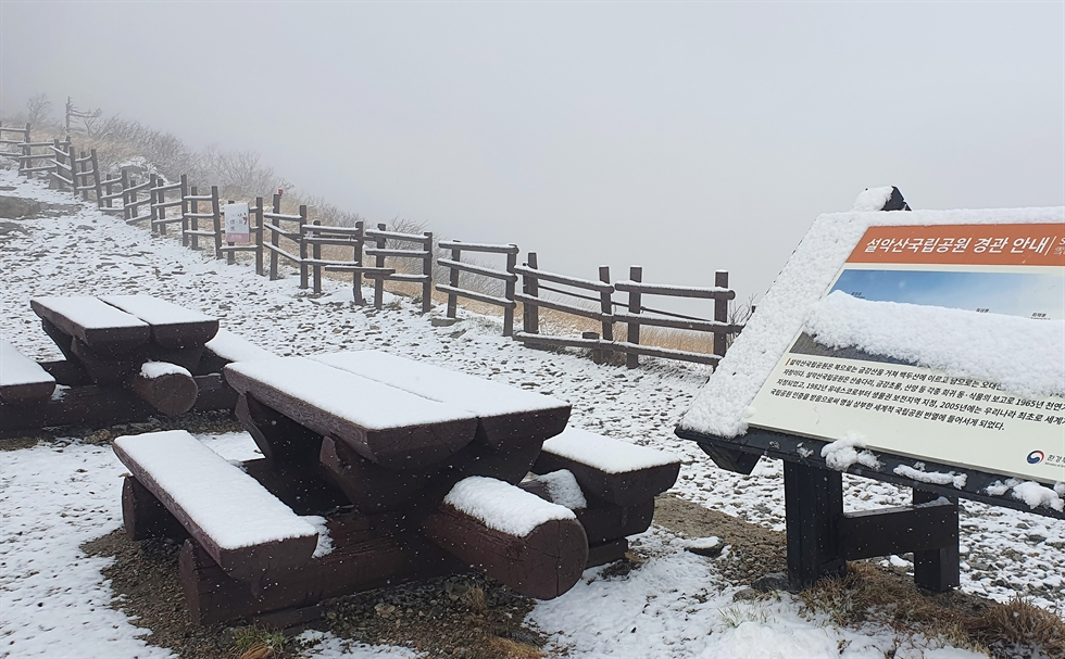 Mount Balwang in Gangwon Province's Pyeongchang County is covered with snow on Friday. /Courtesy of Yong Pyong Resort