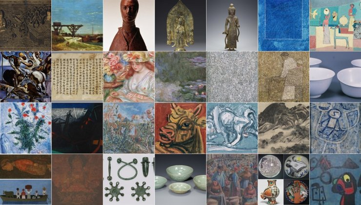 This combination of photos shows a collection of artwork of the late Samsung Group Chairman Lee Kun-hee. His family members said in a statement Wednesday that more than 34,000 paintings and other types of art will be donated to public museums. Courtesy of Samsung