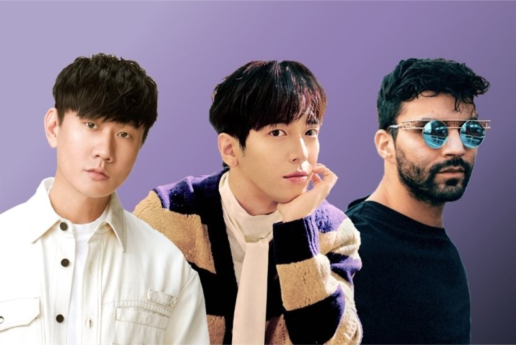 From left, JJ Lin, Jung Yong-hwa and RE3hab, who collaborated for the remix version of 'CHECKMATE,' which will come out on April 16. Courtesy of Warner Music Taiwan