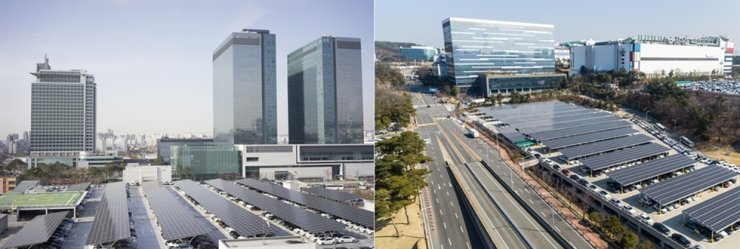 Solar panels are installed at parking lots of Samsung Electronics' branches in Suwon and Yongin. Courtesy of Samsung Electronics