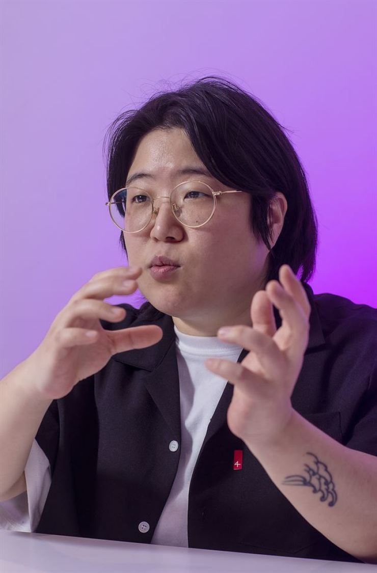 Streaming service Purplay's CEO Cho Il-ji speaks during a recent interview at The Korea Times office in Seoul. Korea Times photo by Shim Hyun-chul