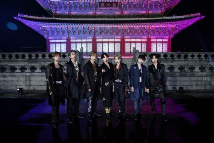 K-pop juggernaut BTS performs 'Idol' in hanbok costume in Gyeongbokgung Palace for NBC's 'The Tonight Show Starring Jimmy Fallon,' Sept. 29, 2020. Courtesy of Hybe