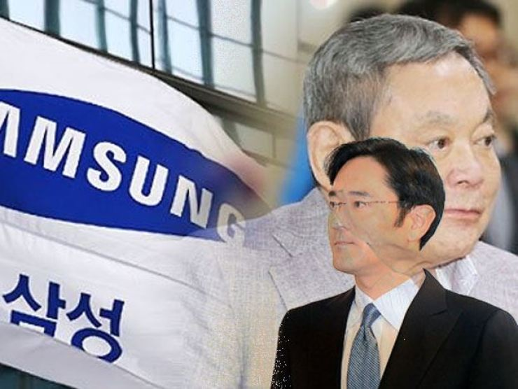 In this graphic image are late Samsung Group chief Lee Kun-hee, top, and one of his heirs, his son Jae-yong. Korea Times file