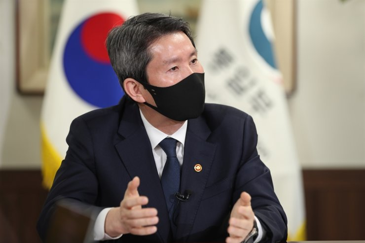Minister of Unification Lee In-young speaks at Government Complex Seoul in Jongno District, March 23, 2021. Yonhap