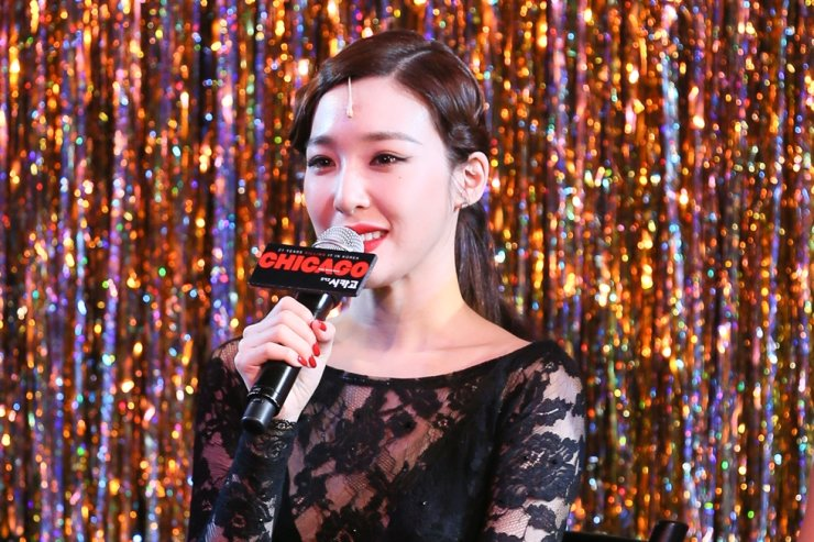 Tiffany Young, a member of Girls' Generation, speaks during a press call held at at Daesung D-Cube Arts Center in southwestern Seoul, Tuesday. Korea Times file