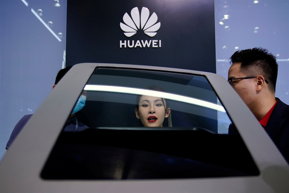 SAIC Motor's Marvel R electric vehicle, equipped with Huawei technology, is seen displayed during a media day for the Auto Shanghai show in Shanghai, China, April 19. Reuters