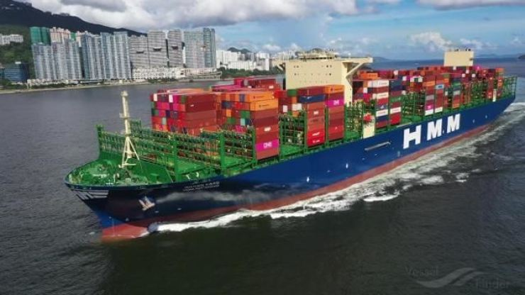 A HMM ship sails with containers to export. Korea Times file
