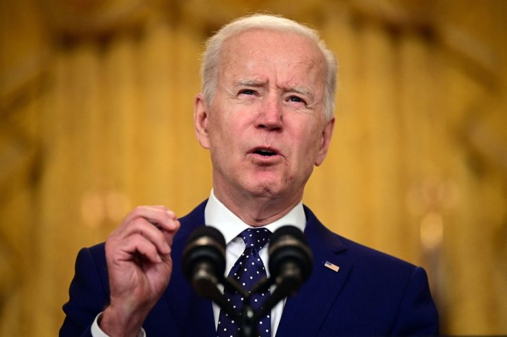 U.S. President Joe Biden delivers remarks on Russia at the White House in Washington, D.C., on April 15, 2021. AFP-Yonhap