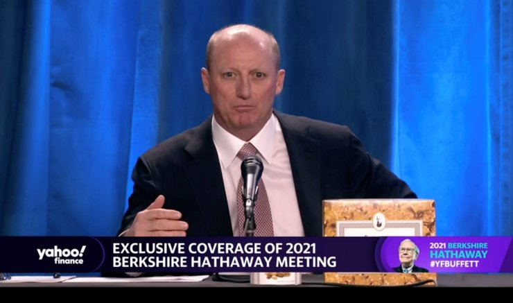 Berkshire Hathaway's vice chairman Gregory Abel speaks at Berkshire's annual meeting, held virtually for a second year, in Los Angeles, Calif., May 1, in this screengrab taken from a livestream video. Reuters-Yonhap