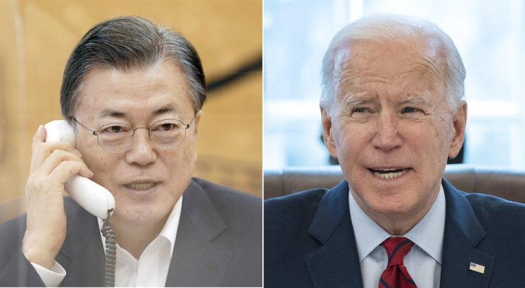 President Moon Jae-in and U.S. President Joe Biden / Yonhap