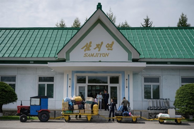 A photo taken on Sept. 10, 2019, shows the terminal building of the airport in North Korea's northern city of Samjiyon, Ryanggang Province. AFP-Yonhap