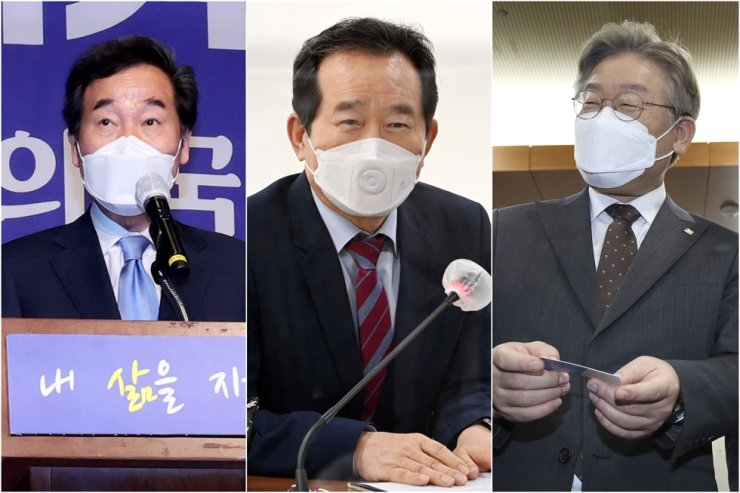 From left are former Democratic Party of Korea Chairman Lee Nak-yon, former Prime Minister Chung Sye-kyun and Gyeonggi Province Governor Lee Jae-myung. Korea Times file