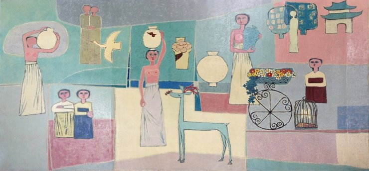 Kim Whan-ki's 'Women and Jars' (1950s) is part of Lee Kun-hee's art collection donated to the MMCA. Courtesy of MMCA
