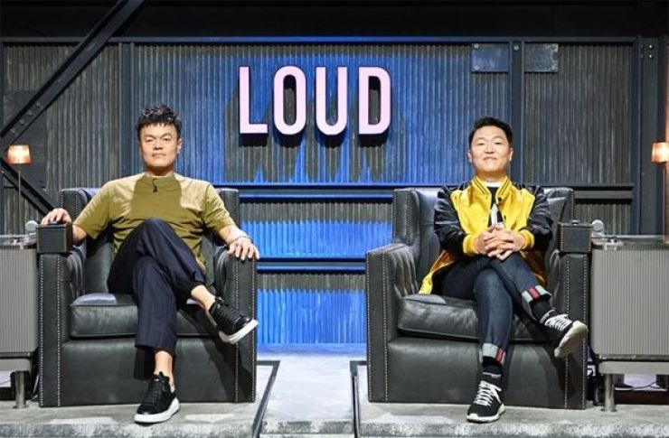 JYP Entertainment's founder-producer Park Jin-young, left, and PSY, the 'Gangnam Style' (2012) star and head of K-pop agency P NATION, will appear as the hosts of SBS's upcoming audition program 'LOUD.' Courtesy of SBS