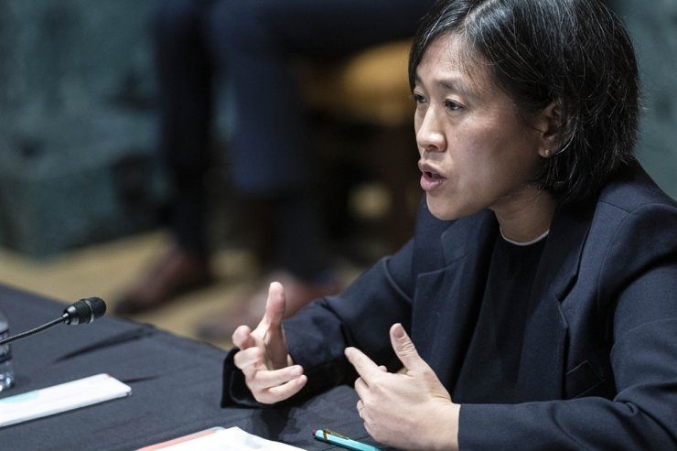 In this April 28, 2021, file photo, U.S. Trade Representative Katherine Tai testifies during a Senate Appropriations subcommittee on Commerce, Justice, Science, and Related Agencies hearing on Capitol Hill in Washington. AP-Yonhap