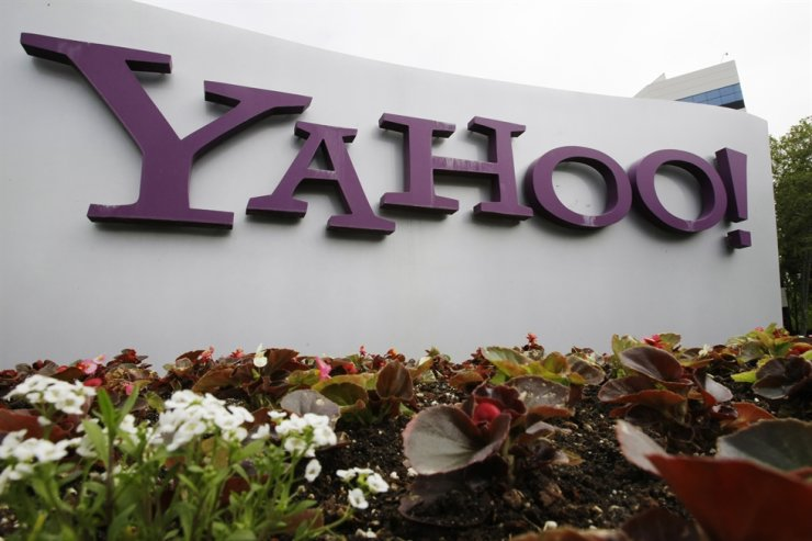 The Yahoo logo is displayed outside of offices in Santa Clara, Calif. AP-Yonhap