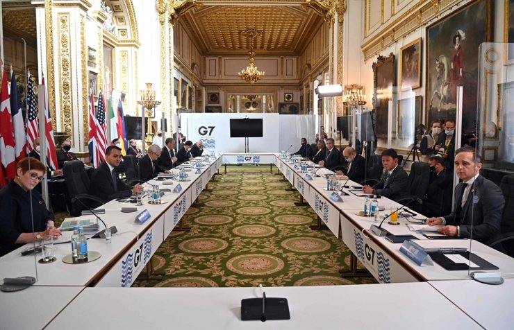 Day two of the G7 foreign ministers meeting begins in London on May 5, 2021 - G7 foreign ministers meet in London for their first face-to-face talks in more than two years, with calls for urgent joined-up action to tackle the most pressing global threats. AFP-Yonhap