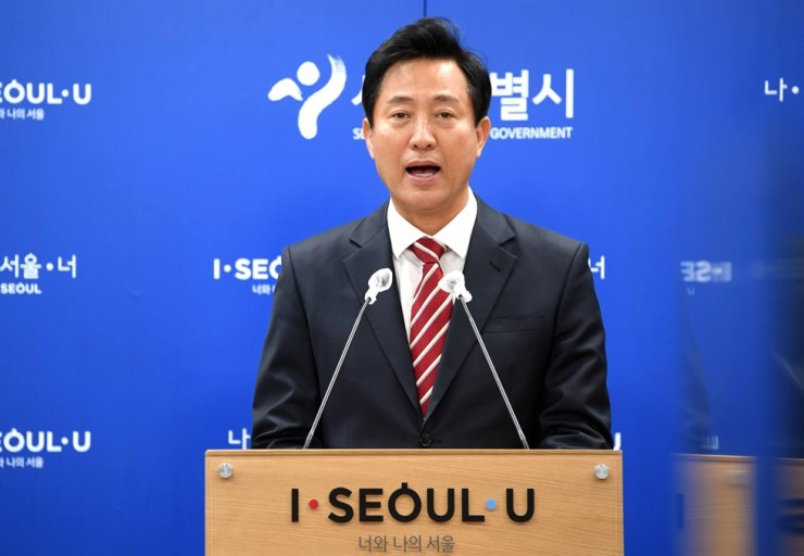 Seoul Mayor Oh Se-hoon speaks during a news conference at Seoul City Hall, April 29. Courtesy of Seoul Metropolitan Government