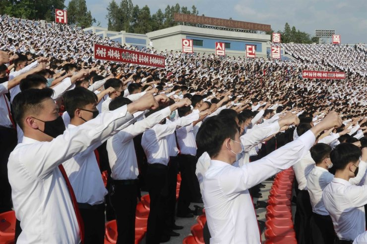 In this June 6, 2020, file photo, North Korean students stage a rally to denounce South Korea following that defectors and other activists in South Korea flew anti-Pyongyang leaflets over the border, at the Pyongyang Youth Park Open-air Theatre in Pyongyang, North Korea. The United States will continue to tackle the North Korean nuclear issue while at the same time pressing for improved human rights conditions, including freedom of religion, in the reclusive state, a senior U.S. official said Wednesday. AP-Yonhap
