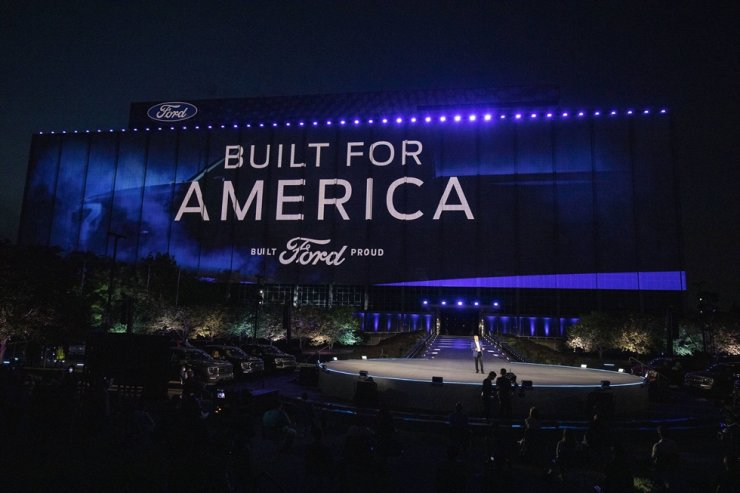 Bill Ford, Jr., Executive Chairman of Ford Motor Company, speaks at the reveal of the new all-electric Ford F-150 Lightning pickup truck at Ford World Headquarters, May 19. AFP-Yonhap