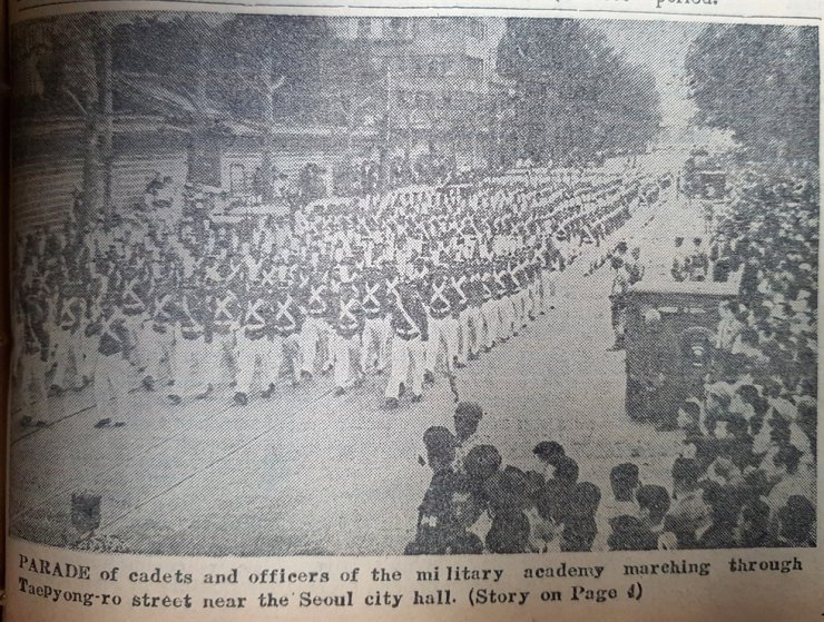 Military academy parade, published in The Korea Times May 19, 1961. / Korea Times Archive