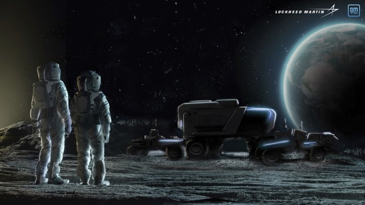 This illustration provided by General Motors and Lockheed Martin in May depicts astronauts and concepts of lunar rovers on the surface of the moon. Korea has signed a U.S.-led international program to send humans to the moon again and further explore Earth's only satellite, the science ministry said Thursday. AP-Yonhap