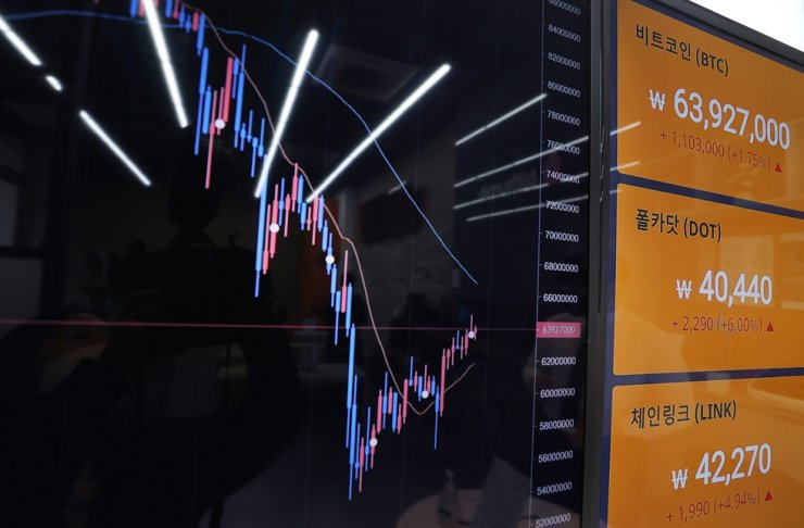 Live price charts of cryptocurrencies are shown on a market board at a crypto asset exchange in Seoul, April 27. Yonhap