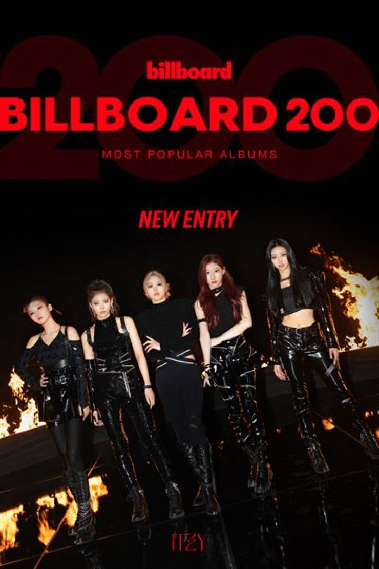 K-pop girl group ITZY has entered the Billboard 200 chart for the first time since its debut in 2019. Courtesy of JYP Entertainment
